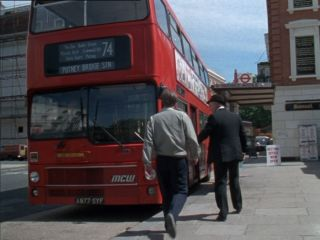 Catching the bus in 'The Wrong Goodbye'