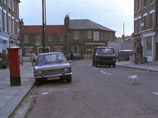 The street outside Fenton's office in 'The Bounty Hunter'